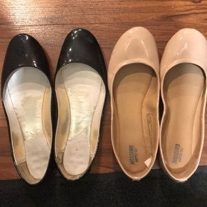 Shoes - Black and nude flats